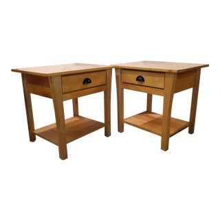 Solid Maple Side Tables or Nightstands - a Pair For Sale