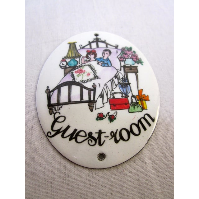 "Austrian Porcelain Enamel Metal Sign ""Guest Room"" - Image 2 of 4"