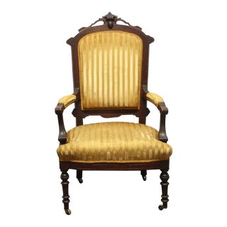 Antique Eastlake Striped Yellow Wood Rotary Chair For Sale