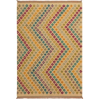 Marquita Ivory/Purple Hand-Woven Kilim Wool Rug -5'0 X 6'6 For Sale