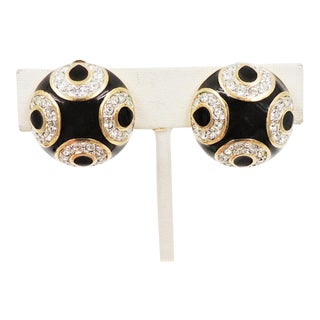 Swarovski Black Enamel & Rhinestone Earrings For Sale