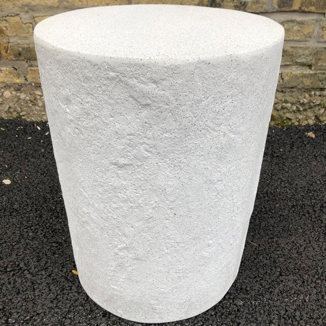 Contemporary Cast Resin 'Dock' Stool and Side Table, White Stone Finish by Zachary A. Design For Sale - Image 3 of 7