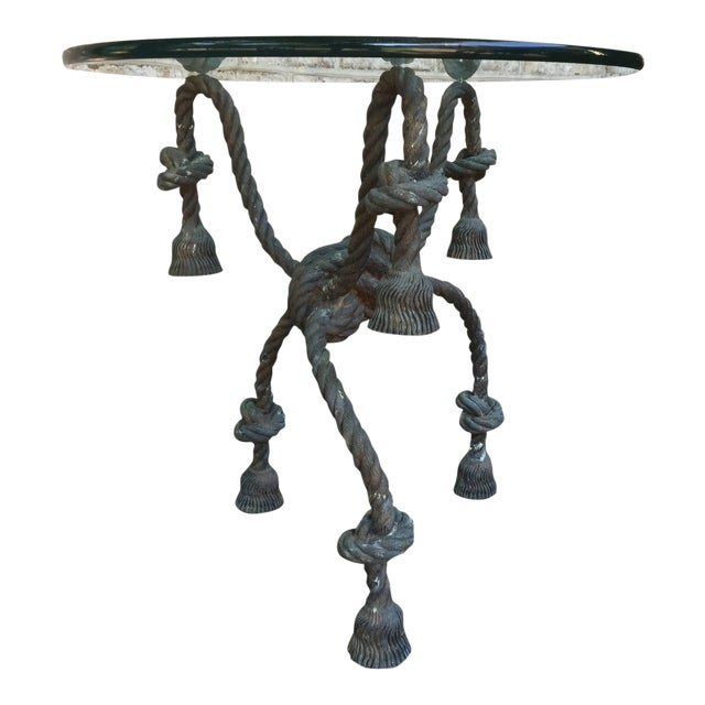Detailed Bronze Tasseled Rope Table For Sale