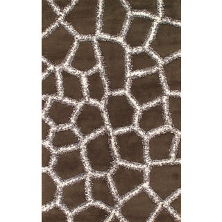 Brown Hand-Tufted Modern Rug - 5' X 8'