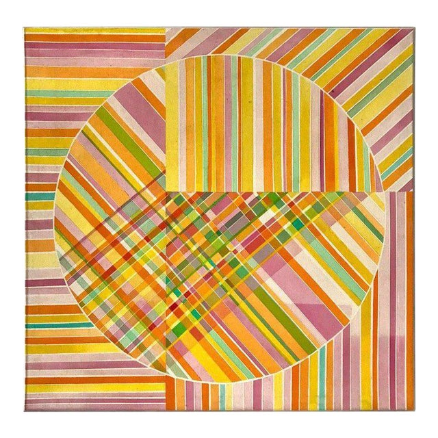 Mid-Century Modern Hard Edge Optical Art Painting, Signed, Circa 1960s For Sale