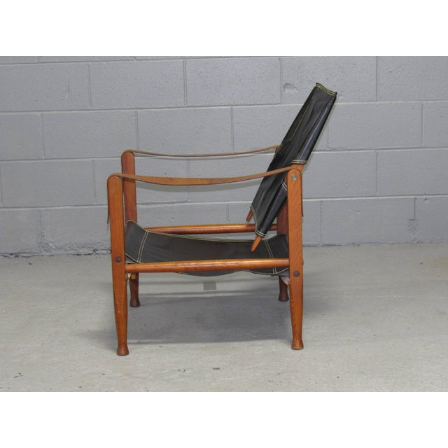 Mid-Century Modern Black Leather Safari Chair by Kaare Klint for Rud Rasmussen For Sale - Image 3 of 10