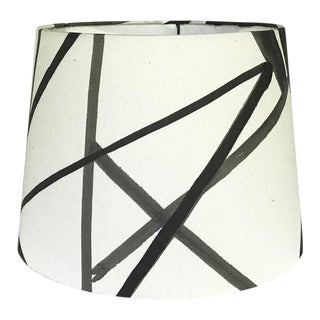 Channels Fabric Ebony & Ivory Drum Shade