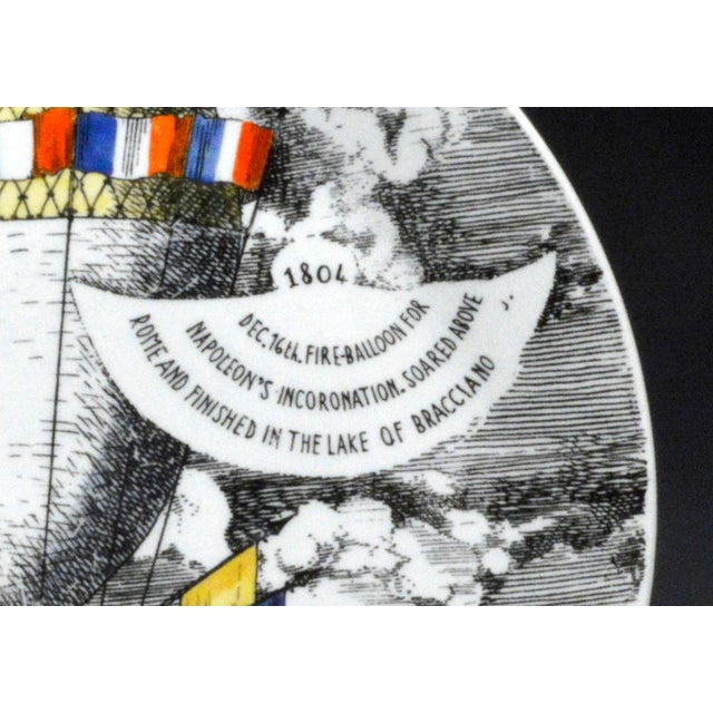 Vintage Piero Fornasetti Plate, Mongolfiere (hot air) Design, Number 12 in series, 1950's. The large Piero Fornasetti...