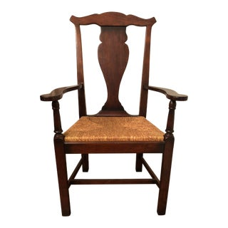 1980s Vintage English Rush Seat Arm Chair For Sale