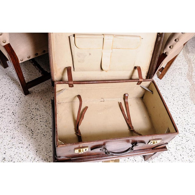 Brown Leather trunk on stand For Sale - Image 8 of 11
