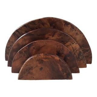 Vintage Handmade Burl Wood Desk Organizer For Sale