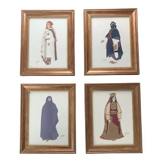 Framed Emile Gallois Prints of Costumes - Set of 4 For Sale