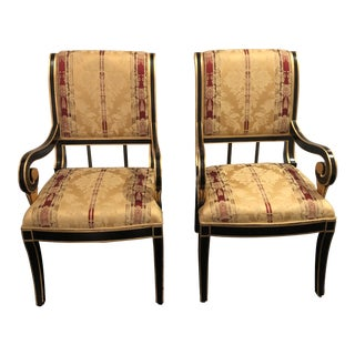 Late 20th Century Hollywood Regency Style Empire Armchairs- a Pair For Sale