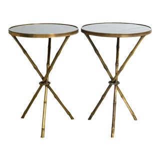 Regency Faux Bamboo Bronze and Marble Tables - Pair For Sale