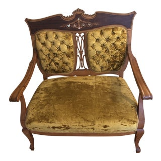 Antique Italian Gold Crushed Velvet Inlaid Settee For Sale