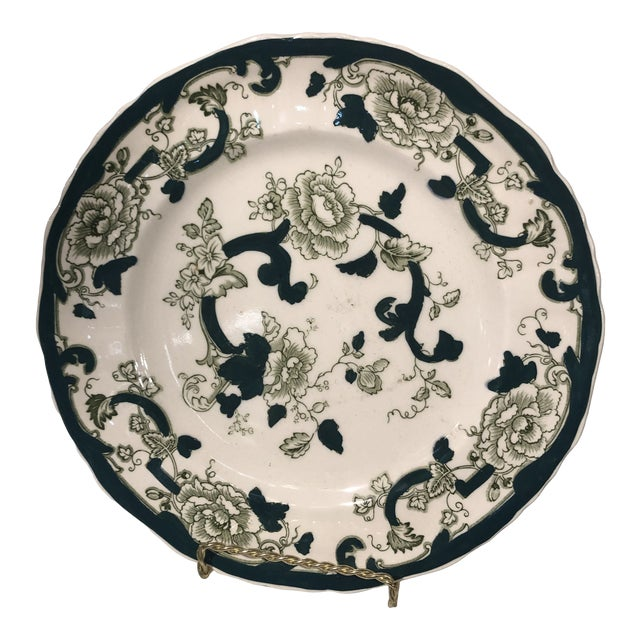 Early 20th Century Mason Ironstone Chartreuse Pattern Dinner Plate For Sale