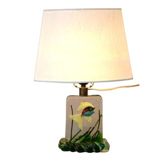 Gino Cenedese Murano Glass Table Lamp & Shade With Fish and Seaweed, Italy 1950 For Sale
