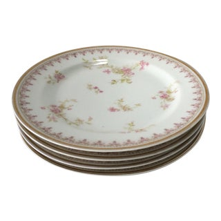 Late 19th Century French Country Havilland & Co. Rosebud China Plates - Set of 4