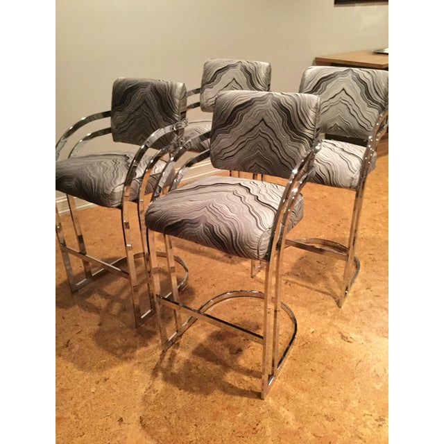 1970s Mid-Century Modern Milo Baughman Chrome Cantilever Bar Stools - Set of 4 For Sale In Chicago - Image 6 of 12