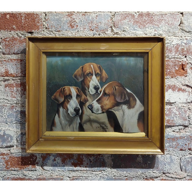 Oil Paint John Arnold Alfred Wheeler -Three English Fox Hounds -19th Century Oil Painting For Sale - Image 7 of 7