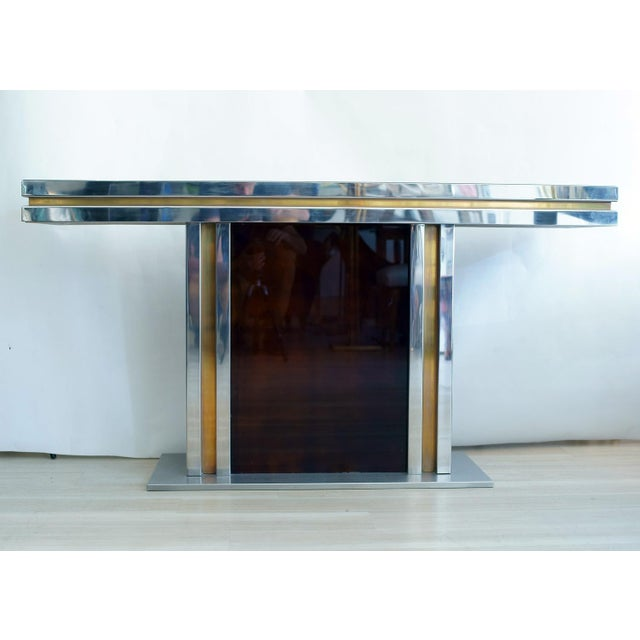 Console table brass steel with artistic glass top design by Romeo Rega ca.1970s