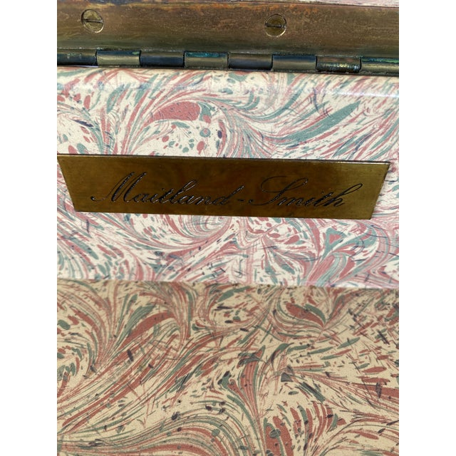 Oxblood Red Maitland-Smith Campaign Lather Wrapped - Console Table - a Pair For Sale - Image 8 of 13