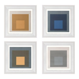 Modern Color Squares, Set of 4, Framed Artwork For Sale