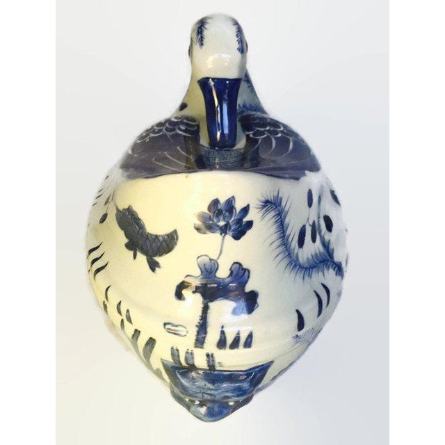 White Mid Century Chinese Porcelain Tureen Duck Serving Bowl Lidded Dish Cobalt Blue White For Sale - Image 8 of 10