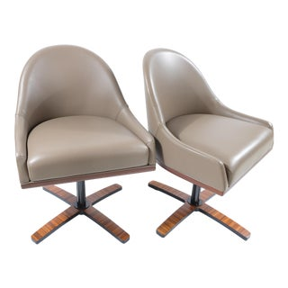 "Medea Mobilidea ""Chic"" Swivel Chairs Designed by Umberto Asnago- a Pair"