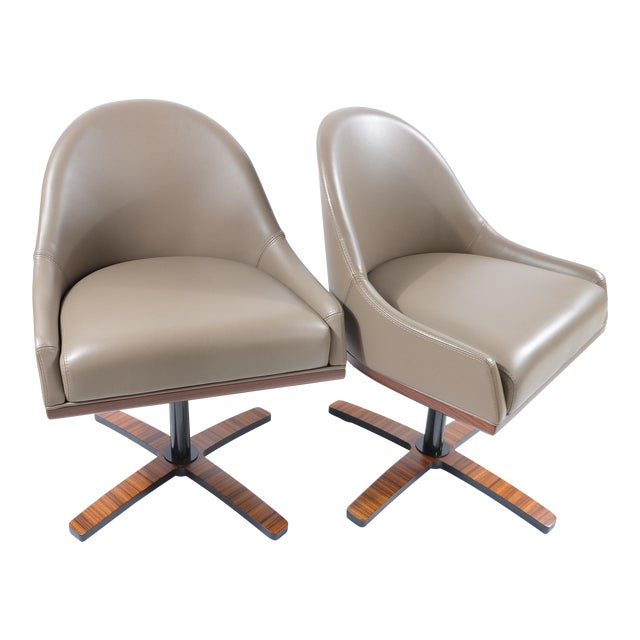 """Medea Mobilidea """"Chic"""" Swivel Chairs Designed by Umberto Asnago- a Pair For Sale"""