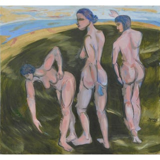 """""""The Three Graces"""" Contemporary Figurative Abstract Oil Painting For Sale"""