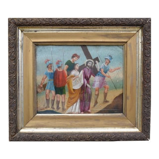 """Christ: Stations of the Cross"" Retablo Spanish Colonial Painting on Copper For Sale"