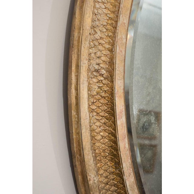 French Giltwood Oval Mirror For Sale - Image 4 of 5