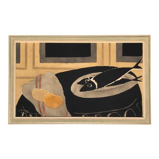 After Georges Braque Black Fish Lithograph For Sale