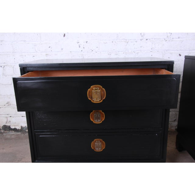 Ebonized Hollywood Regency Chinoiserie Large Nightstands or Bachelor Chests by Davis Cabinet Co., Pair For Sale In South Bend - Image 6 of 10