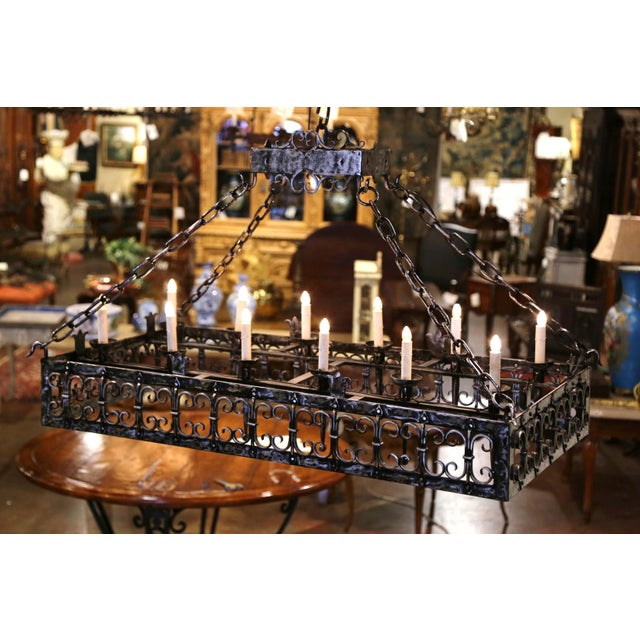 19th Century French Gothic Forged Polished Iron Ten-Light Island Chandelier For Sale - Image 4 of 13