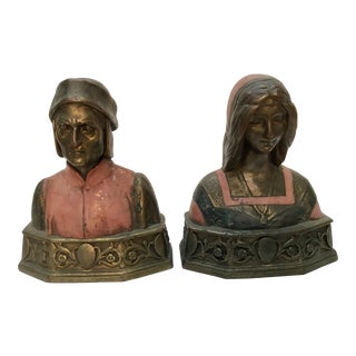 "1920s Vintage Pompeian Bronze Co. ""Dante and Beatrice "" Bookends - a Pair For Sale"