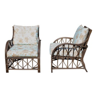 Vintage McGuire Inspired Rattan Palm Beach Chic Boho Bentwood Club Chairs - a Pair For Sale