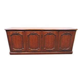 Mid 20th Century Baker French Style Carved Cherry Credenza For Sale