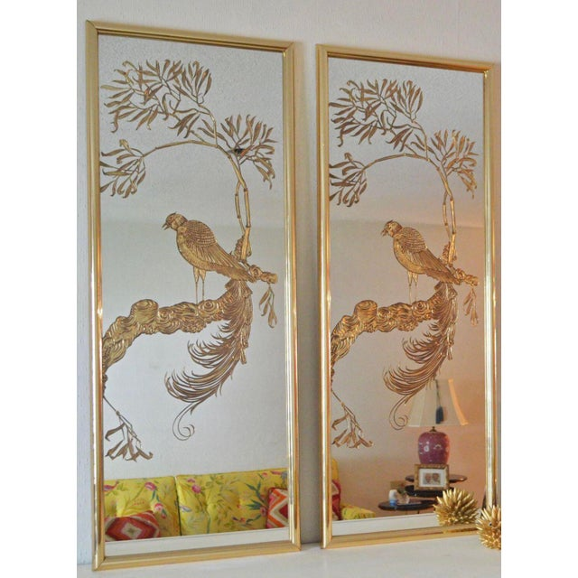 Hollywood Regency Brass and Gold Etched Bird Mirrors - a Pair For Sale - Image 3 of 4