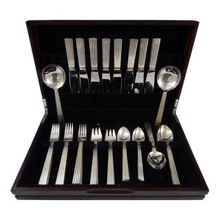 Bernadotte by Georg Jensen Silverplated Flatware Set for 8 Service 50 Pieces For Sale