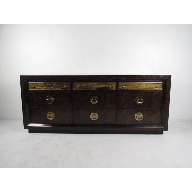 Brass and Burl Wood Dresser for Mastercraft by Bernhard Rohne For Sale - Image 13 of 13