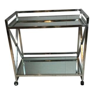 Vintage Chrome & Mirror Bar Cart For Sale