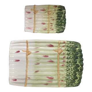 1970's Majolica Asparagus Serving Plates - a Pair For Sale