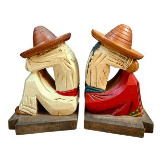 Vintage Mexican Folk Art Carved Wooden Figural Bookends - a Pair For Sale