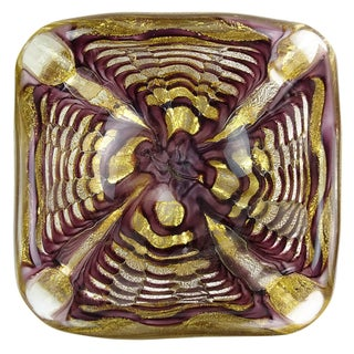Ercole Barovier Toso Murano Purple Gold Flecks Italian Art Glass Mid Century Bowl Ashtray For Sale