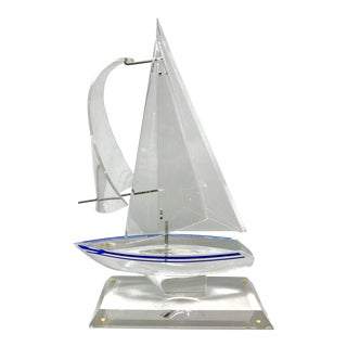 Clear Acrylic Sailboat Sculpture by H. Charles Yi For Sale