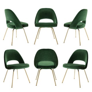 Original Saarinen Executive Armless Chairs in Emerald Velvet, Custom 24k Gold Edition - Set of 6 For Sale