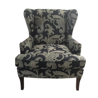 Kravet Black and White Paisley Fabric Upholstered Wingback Chair For Sale