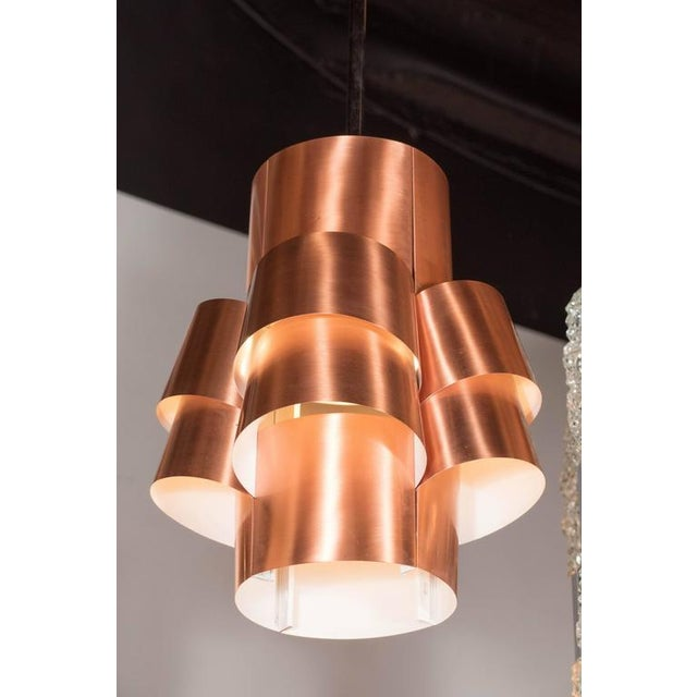 1960s Stunning Segmented Sculptural Pendant Lamp in Copper by Hans-Agne Jakobsson For Sale - Image 5 of 8